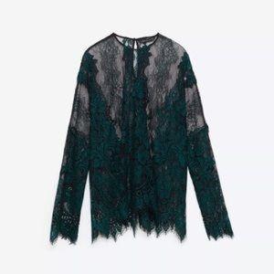 Zara Dark Green Lace Sheer Loose Fit Tunic